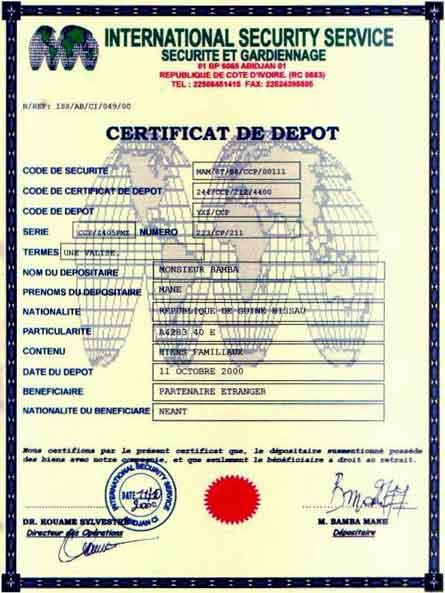 Certificat des peaux